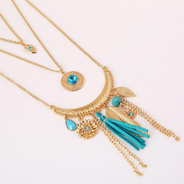 Фото chicvie синие кристальные бусины золотого цвета многослойное