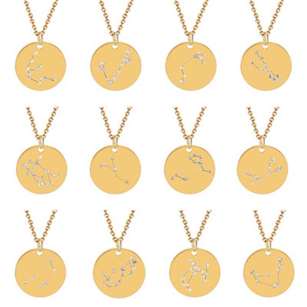 QIAMNI 12 Star Zodiac Constellation Signs Necklace Gold Astrology Disc Galaxy Horoscope Necklaces Women Men Party Birthday Gift