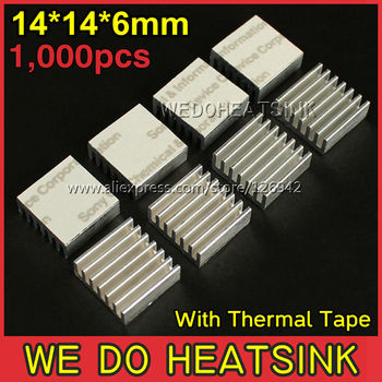 1,000Pcs/Lot 14*14*6mm Extruded Aluminum Radiator Extrusion Heatsink Cooling With Thermal Conductive Tape