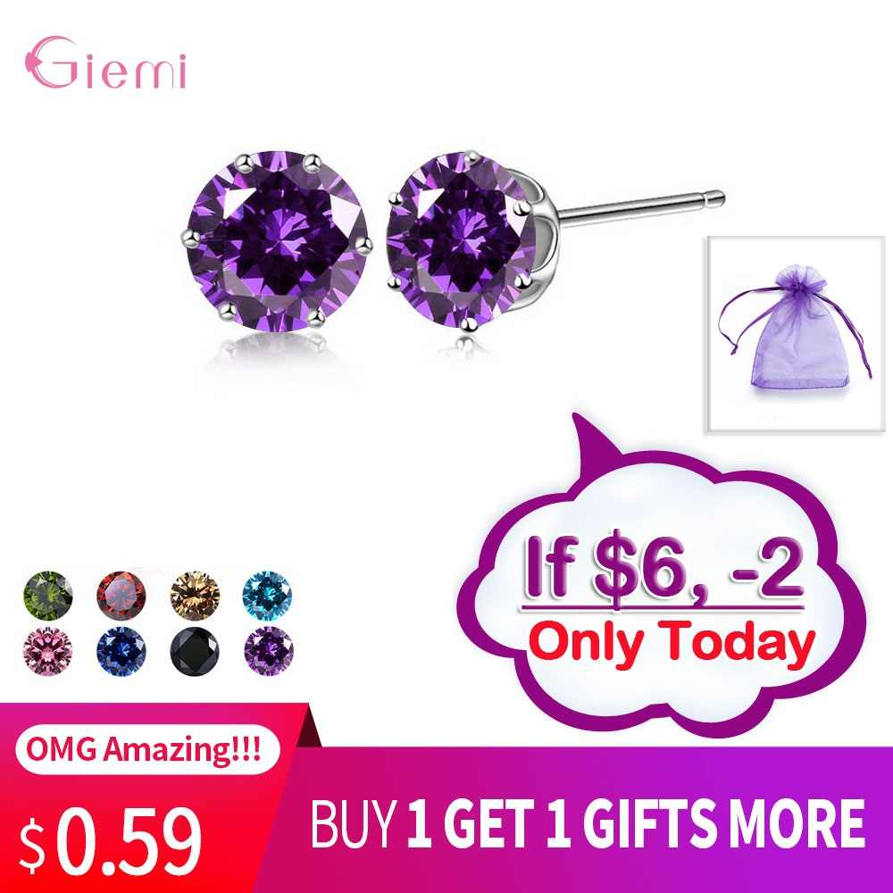New Collection Cubic Zirconia CZ Stone 6MM Fashion Jewelry Stud Earrings 925 Sterling Silver Earrings Women Gifts 20 Colors