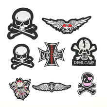 2018 New 1 pcs iron on transfer Skull style cool badge for clothes and shoes bags handmade DIY D-031
