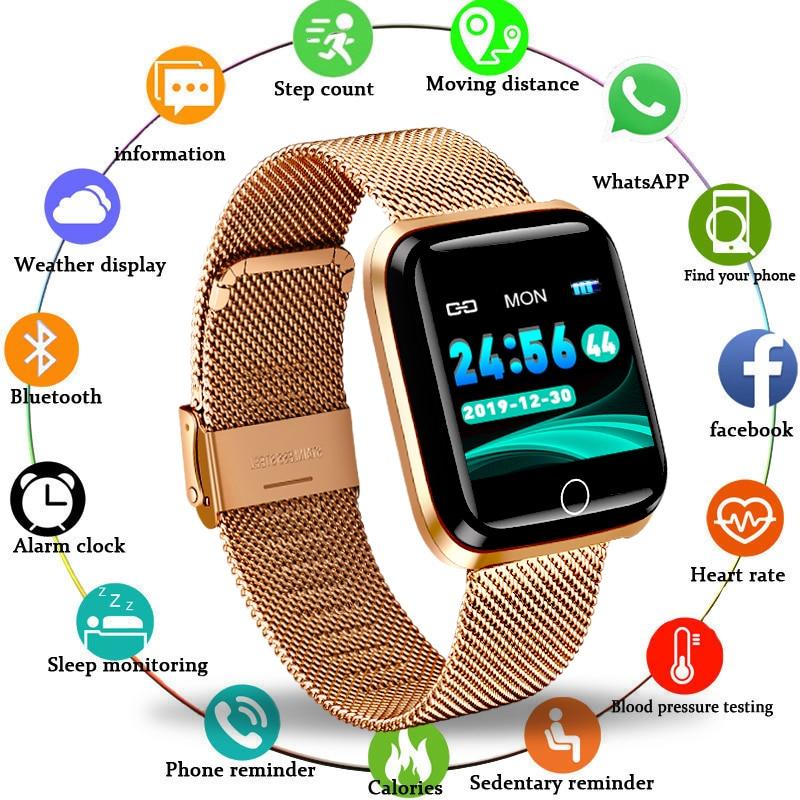 Mode SmartWatch hommes femmes moniteur de fréquence cardiaque traqueur de pression artérielle traqueur de Fitness Sport étanche montre intelligente pour iPhone