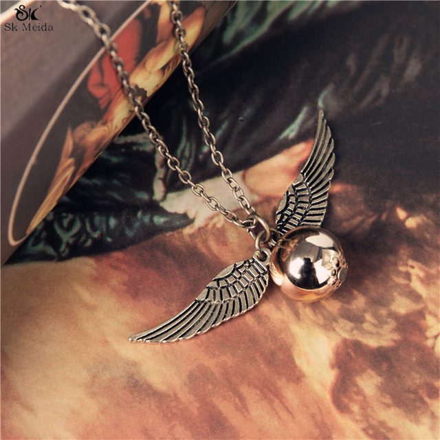 55*25mm Harry Potter And The Deathly Hallows Necklace Snitch Exquisite Ball Wings Feather Necklaces For Women And Man HE-23