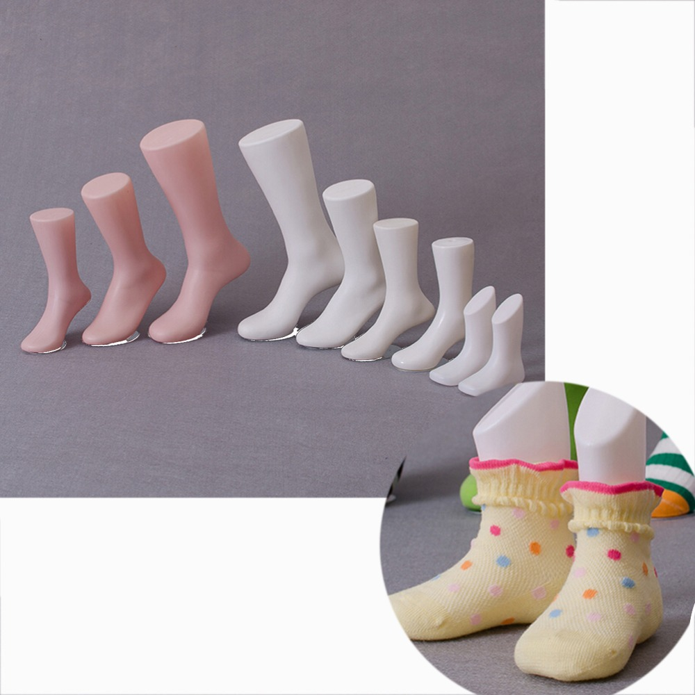 WellieSTR One Pair Plastic Foot Mannequin baby child manikin thickness Foot for Display Socks SKIN COLOR