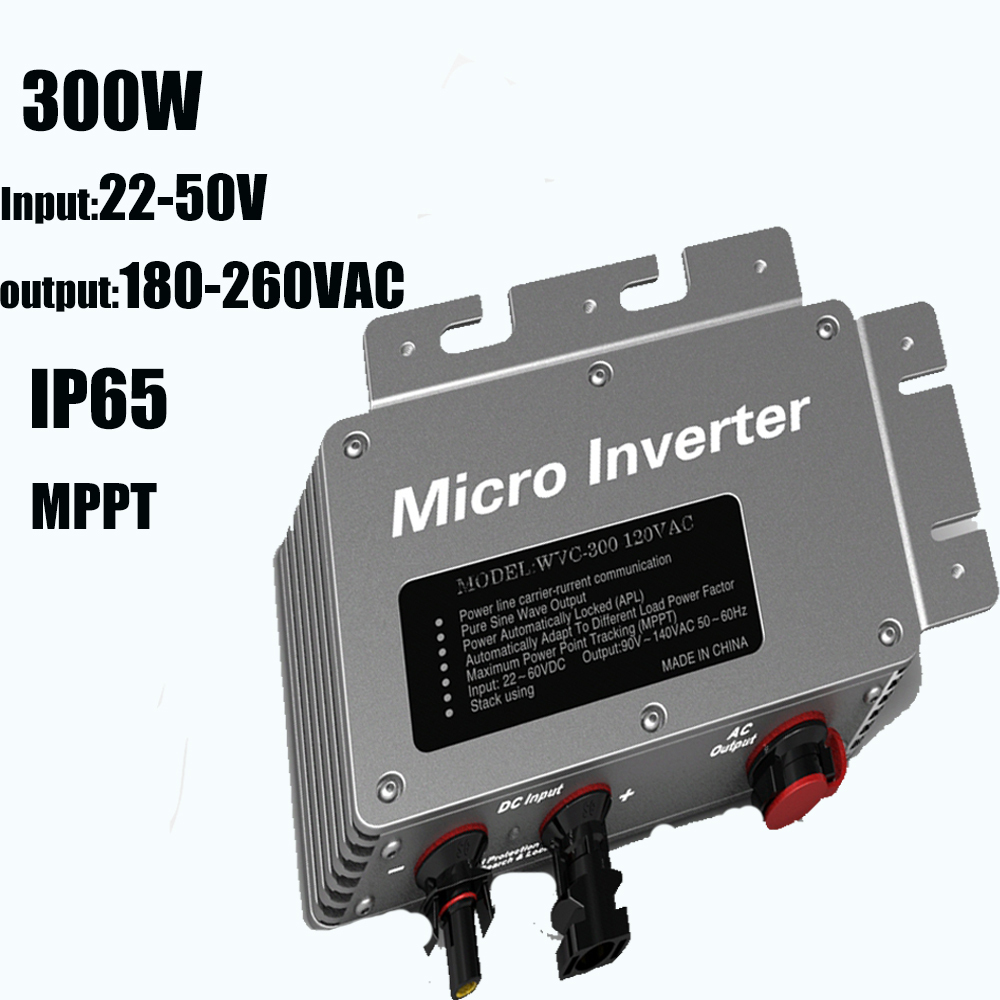 300W Pure Sine Wave Power High Frequency Inverter IP65 22-50V Input 180-260VAC Output  Solar Power Micro Inverters MPPT 2015 NEW solar power on grid tie mini 300w inverter with mppt funciton dc 10 8 30v input to ac output no extra shipping fee