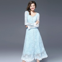 New Arrivals Women Long Dress Evening Party Gowns Light Blue Color Chiffon Lace Dresses Elegant Ladies
