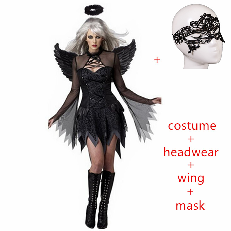 2019 carnival Halloween Costumes Women Cosplay dress Fantasy Party Fancy Dress Adult White Black Angel Costume Wings headwear
