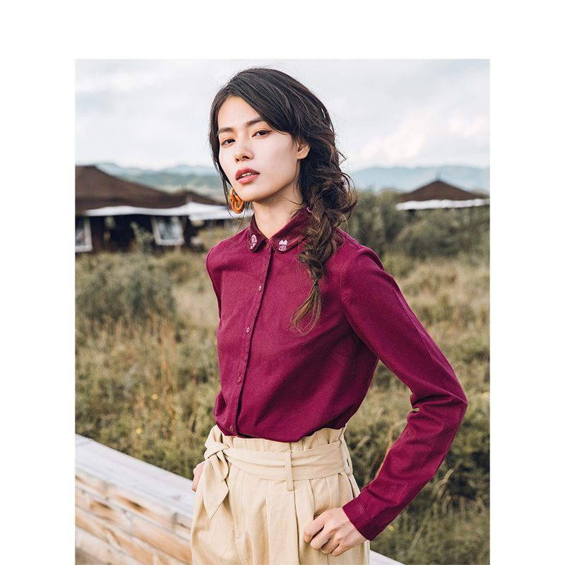 INMAN Winter Cotton Contrast Color Turn Down Collar Loose Style Women Causal Blouse