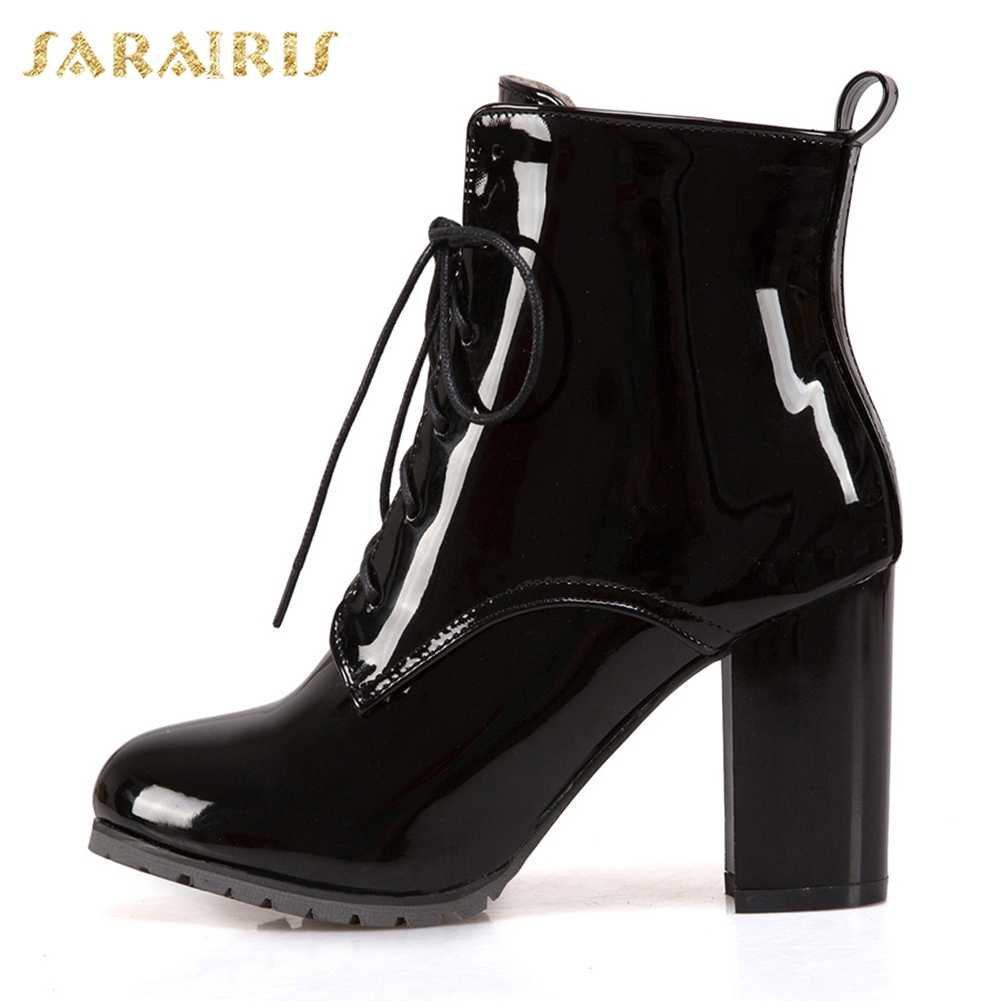 SARAIRIS Artı Boyutu 31-50 Parti Düğün Botları kadın ayakkabısı Kadın Kalın Yüksek Topuklu Zip Up Yeni Moda yarım çizmeler Kadın
