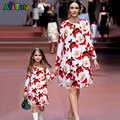 Christmas dress Mother daughter dresses Family matching clothes Mom Kids Baby Girl  Family look Long Sleeve Print Dresses outfit