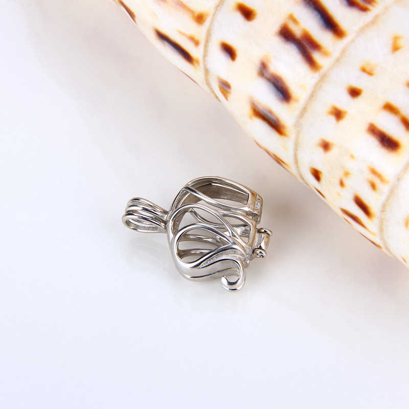 CLUCI 925 Sterling Silver Lovely Elephant Shaped Charms Pendant for Women Necklace Jewelry 925 Silver Elephant Cage Pearl Locket