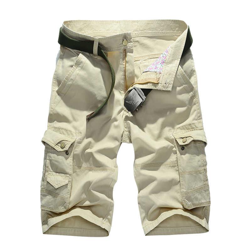 2018 verano nuevo algodón Casual Pantalon Corto suelto de buena calidad para Hombre Pantalones cortos de carga 1580
