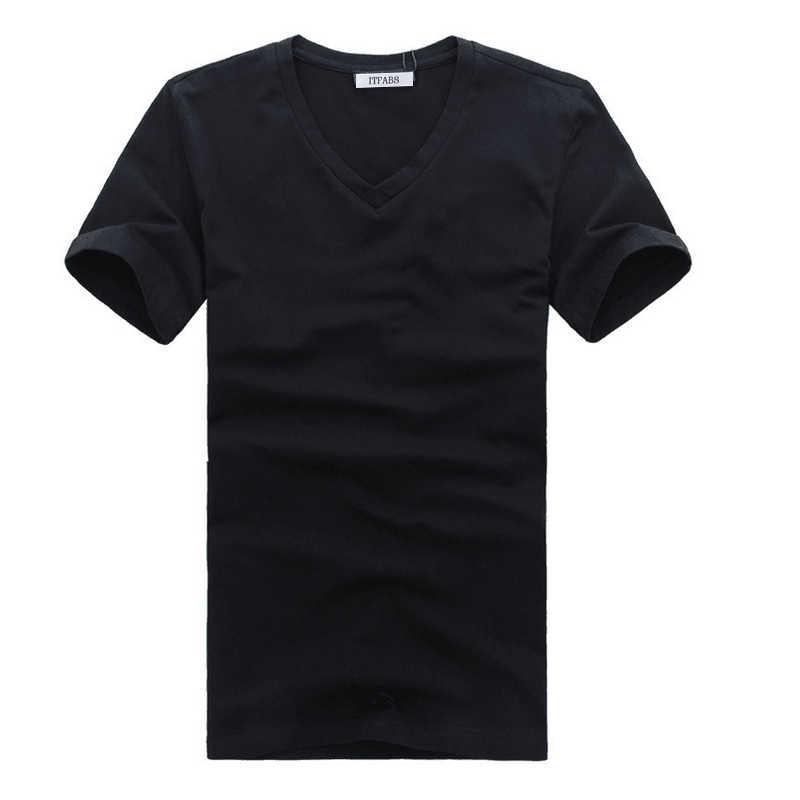 Itfabs camiseta masculina moderna, cor sólida, gola em v, algodão, justa, manga curta, roupas casuais de rua camiseta