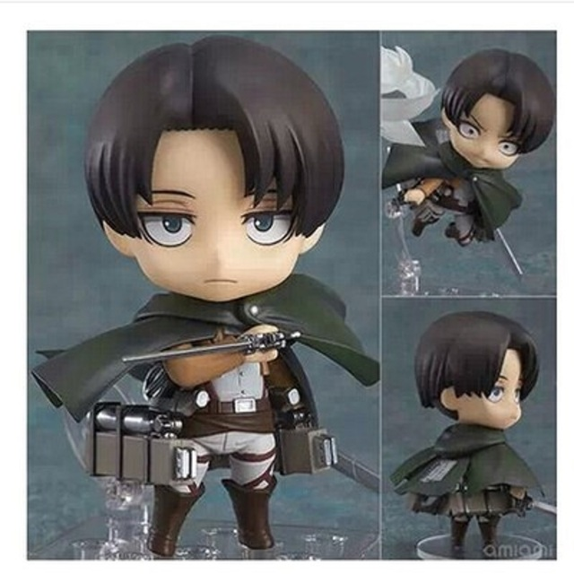 Japan Anime Action Figure Game Attack on Titan Levi Ackerman 390# 10cm PVC Model Collection Q Version Cute Toys Doll Brand New