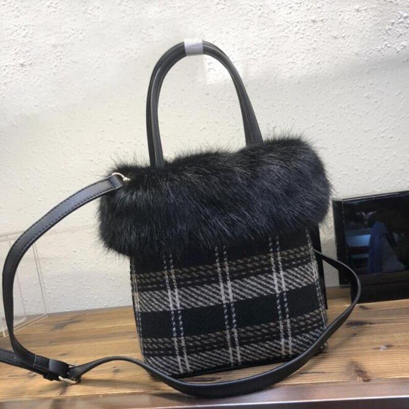 4dcdad95e995 Casual Plaid Tote Soft Faux Fur Bucket Bag Handbag Women Fashion Winter Crossbody  Bags Small Hairy Shoulder Bag Sac A Main Femme