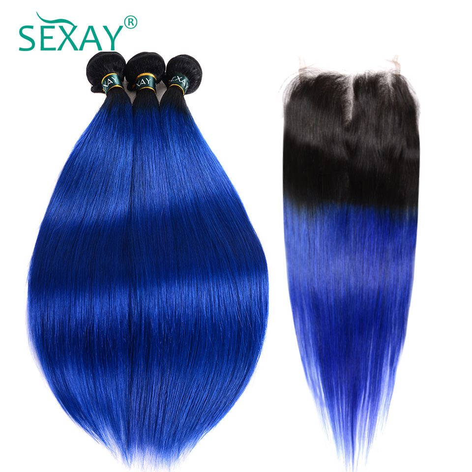 Ombre Bundles With Closure Sexay Professional 1B/ Blue Two Tone Human Hair Brazilian Straight Hair 3 Bundles Pack With Closure