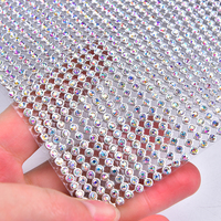 Rhinestone Mesh 2mm/3mm/4mm/6mm Trimming Glass Clear Crystal AB Applique Wedding Decoration Roll Bandind Silver/Gold Plating