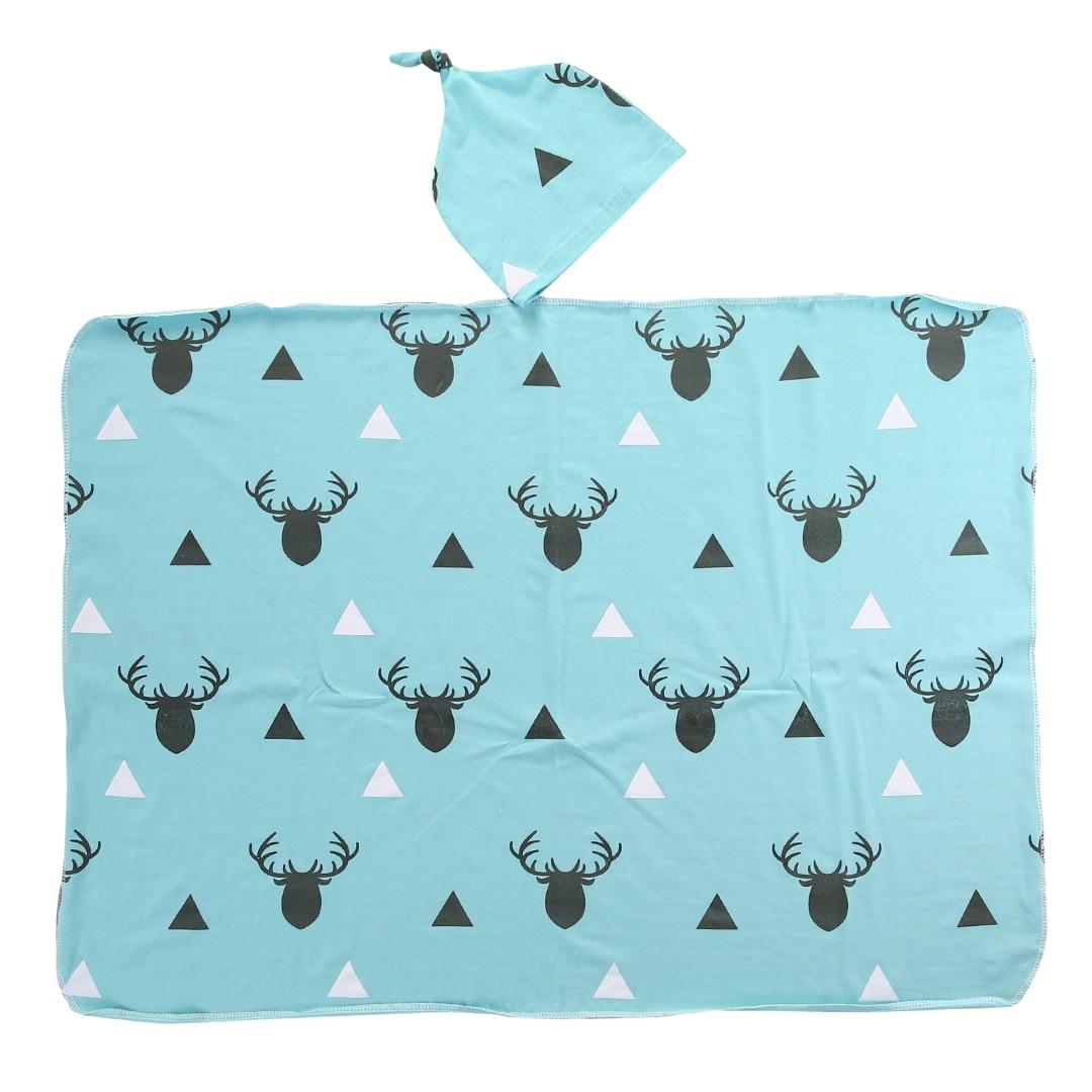 Newborn Infant Baby Boy Deer Swaddle Blanket 2pcs/set hat Boy Coming Home Cotton Bath Towel