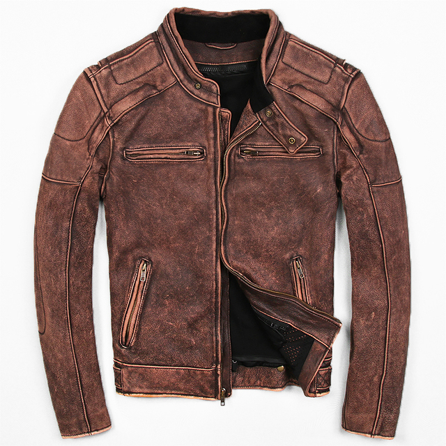 3b9d706a374 2019 Vintage Brown Men s Biker Leather Jacket Plus Size 3XL Genuine Thick  Cowhide Slim Fit Leather Motorcycle Coat FREE SHIPPING