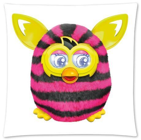 Custom Fashion Style Cotton Zippered Linen Decorative  Single Furby  Pillow Case Standard Size 45x45 cm(Twin Sides)