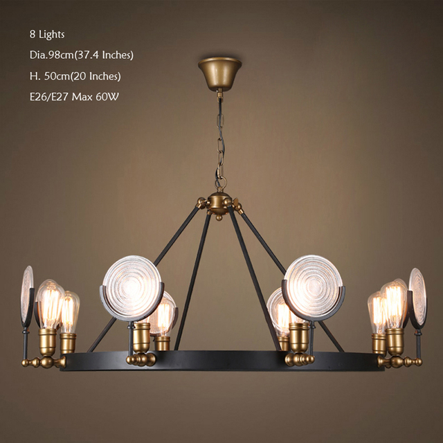 Ecolight free shipping retro chandeliers 6 or 8 lights e26 e27 glass shades metal painting vintage