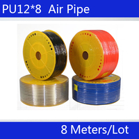 Free shipping PU Pipe 12*8mm for air & water 8M/lot Pneumatic parts pneumatic hose ID 8mm OD 12mm