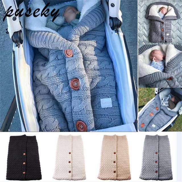 Puseky Baby Sleeping Bags Cotton Knitting Envelope for Newborn footmuff for stroller sleeping para bebek winter 2018