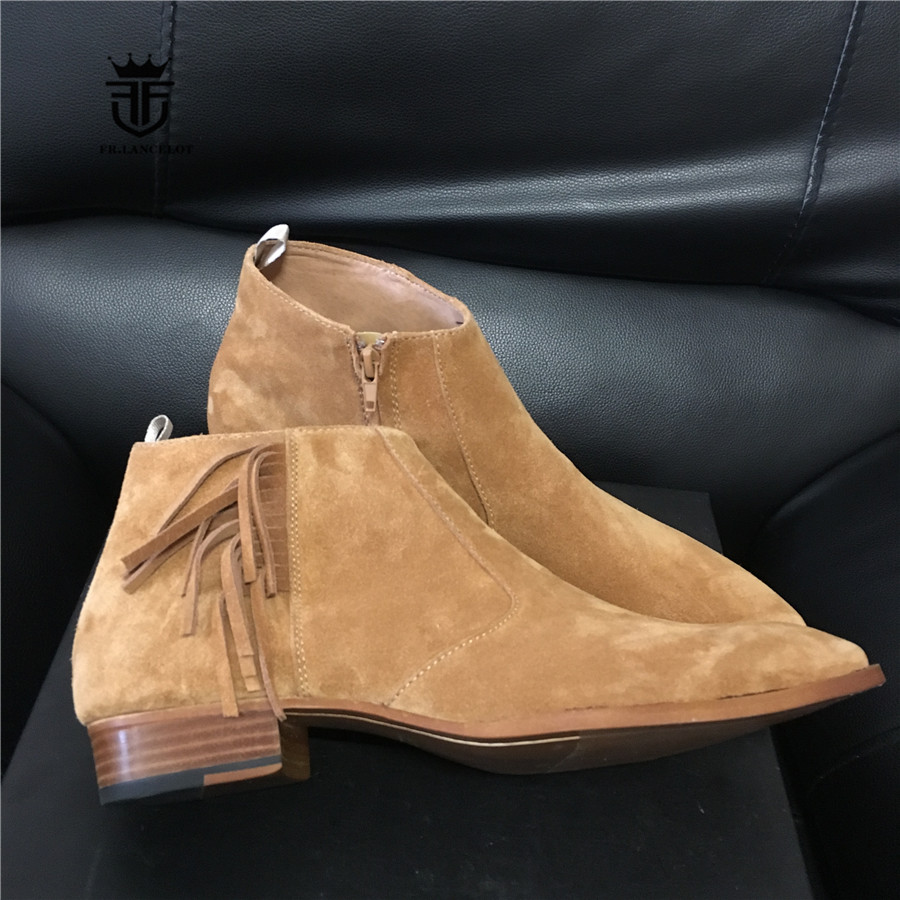 Fringe Tassel Luxury Handmade Pointed Toe Ankle Short Boots Personalized Suede Dress Wedding Boots 2017 luxury handmade pointed toe ankle fringe tassel short boots high end designed men genuine leather suede boots