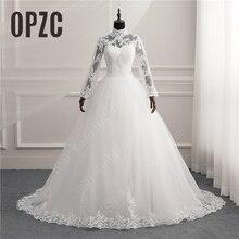 Uzun kollu dantel fermuar çekicilik düğme müslüman yeni beyaz düğün elbisesi 2021 Illusion gelin kıyafeti Vintage Vestido De Noiva artı boyutu