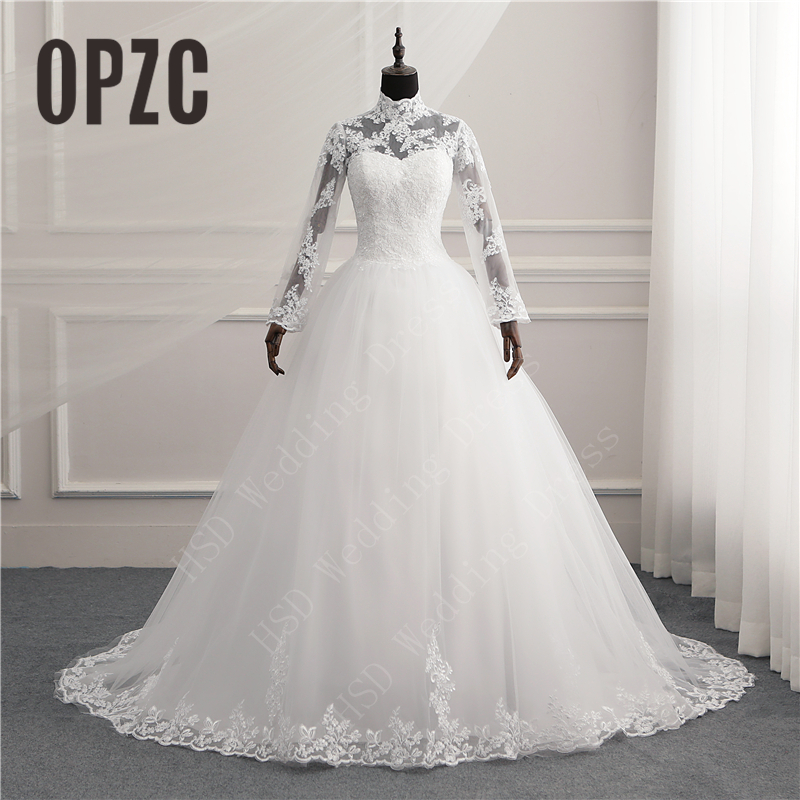 Vintage High Neck Long Sleeve Lace Zipper Button Muslim Wedding Dress Illusion Backeless Gown Bridals Vestido De Noiva 2020