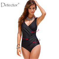 Detector Plus Size Swimwear Women One Piece Swimsuit Print Solid Swimwear Large Size Vintage Retro Swimsuit