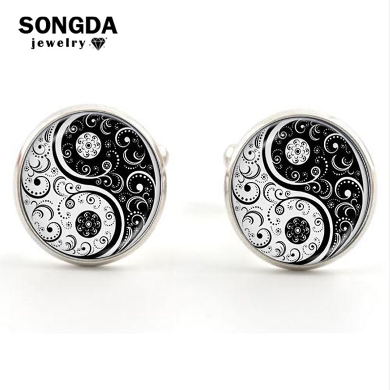 Jewelry Sets & More 17mm Chinese Yin Yang White And Black Round Mother Of Pearl Shell Novelty Cufflinks Fashion Sleeve Buttons Shirt Cuff Links 8615