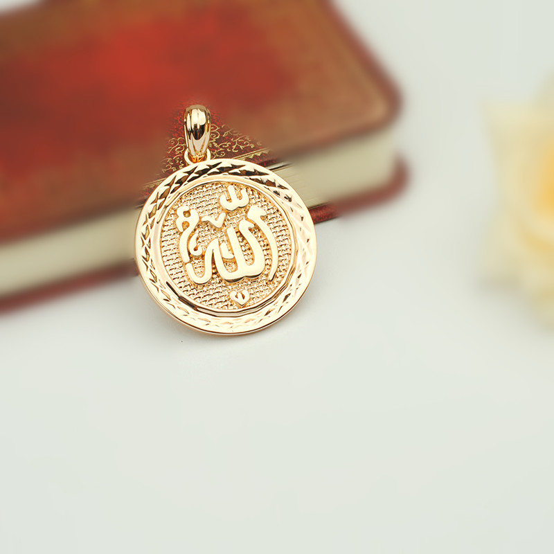 Turkey Islamic Allah Pendant New Fashion Pendant Rose 585 Gold  Color Muslim Jewelry Accessories Women and Men Necklace Pendantsf  pendantislam allahmuslim jewelry