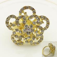 12PC alloy rose napkin buckle ring diamond gold