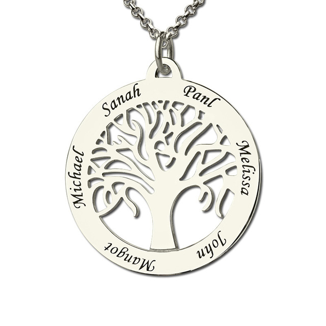 Wonderful Personalized Family Tree Necklace Engraved Circle Name Necklace  VK69