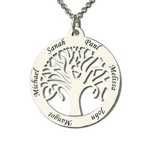 Personalized Family Tree Necklace Engraved Circle Name Necklace Sterling Silver Mother Necklace Present for Her Family Jewelry