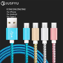 Mobile Phone Cables Android Micro USB Cable Fast Charging Nylon Braided Cable 0.5M 1M 2M 3M Micro USB USB C Data Cable CB028 rock c2 micro data charging cable 1m grey