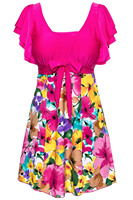 Women S Cut Slim Swim Floral Swimsuit One Piece Wrapped Chest Beach Swimwear Rose Red 5XL