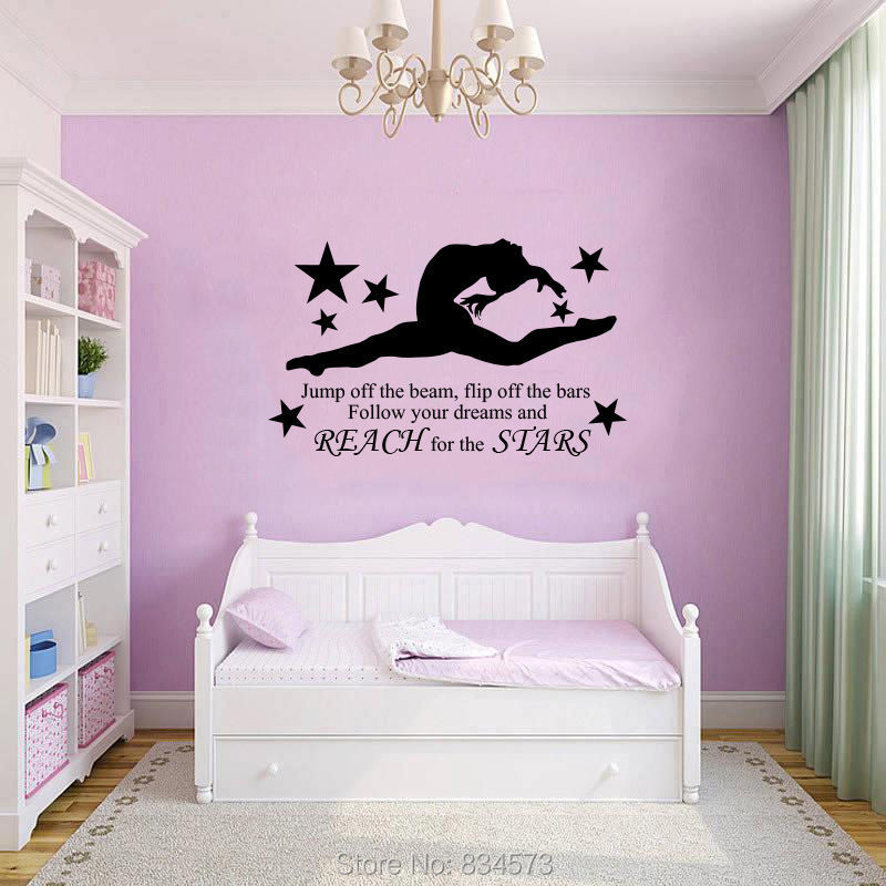 GYMNAST GYMNASTIC GIRLS Wall Art Sticker Decal Home DIY Decoration Decor Wall  Mural Removable Bedroom Decal