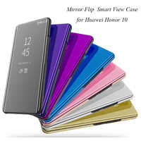 Honor10 Mirror Flip Case For Huawei Honor 10 Luxury Clear View PU Leather Cover For Huawei Honor 10 Smart phone Case