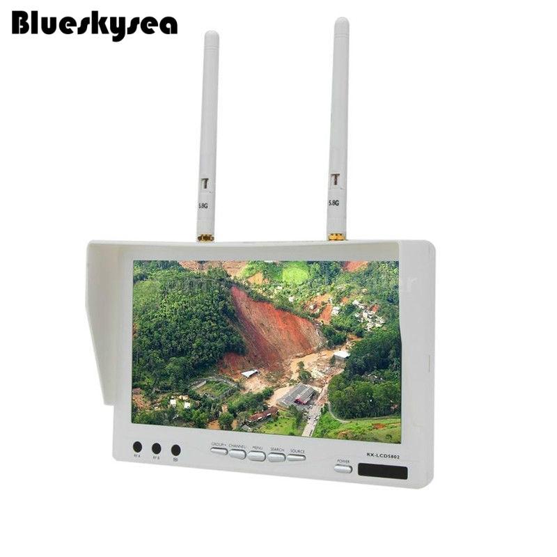 Blueskysea  RX-LCD5802 7'' inch HD 5.8GHz FPV 40CH Dual Diversity LCD Screen Monitor W1 White 140 degree boscam rx lcd5802 5 8ghz wireless fpv 7 diversity lcd screen receiver monitor black