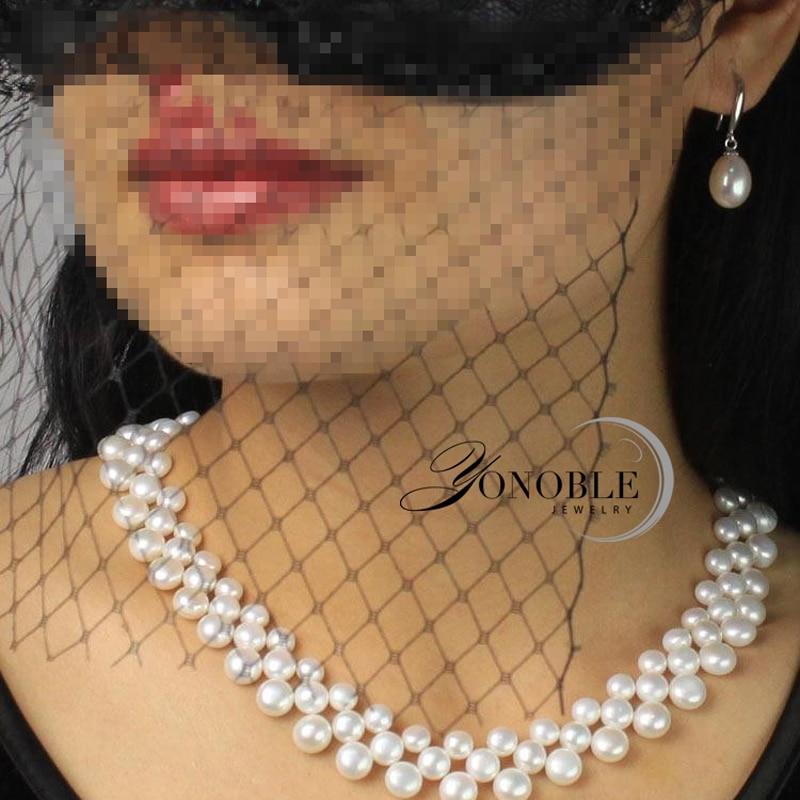 3 rækker naturlige ferskvands choker multi lag perle halskæder - Smykker - Foto 5