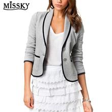 MISSKY Women Coat Slim Design All-match Leisure Blazer Bussiness Suit Solid Colo