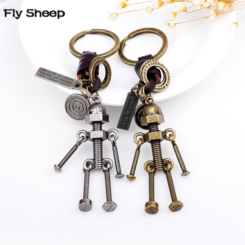Vintage Men Simple Handcraft Screw Robot Keychain Copper Alloy Leather Braided Cord Key Chains Hand Made Bag Charm Keys Holder