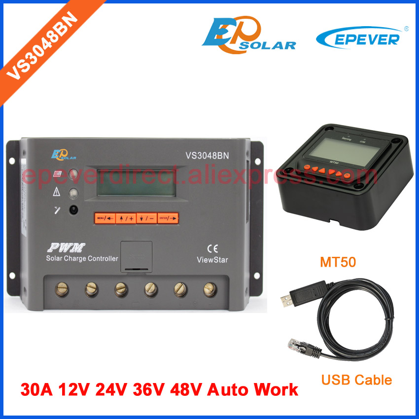 PWM regulator 30A 30amp VS3048BN solar charger controller with USB comunication cable and MT50 meter 12v/24v/36v/48v ep new series pwm regulator solar panel system controller with usb cable and mt50 remote meter vs3024bn 30a 30amp