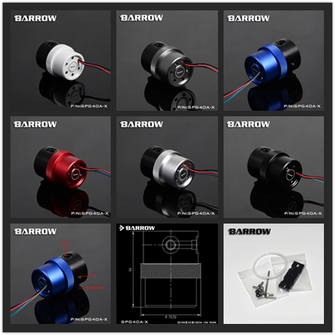 Barrow water cooling 18W D5 Pump White Red Blue Black Silver 12v Big 4Pin PWM automatic