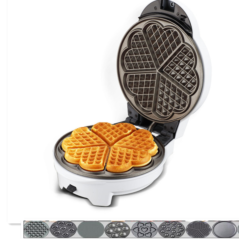 220V White Color Multifunctional Electric Waffle Maker Machine Household Waffle Donut Cake Maker Optional Plates EU/US/BS Plug multifunctional electric egg waffle maker donut cake pop machine mini muffin bubble baking grill oven 3 changeable plates eu us