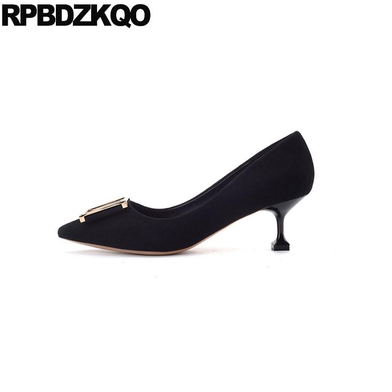 2017 Medium 11 43 Pointed Toe Size 33 Elegant Black Women 4 34 Classic Big Metal Ladies Mid Heels Shoes Suede 10 42 Pumps Kitten manitobah унты mid classic suede mukluk женские серый