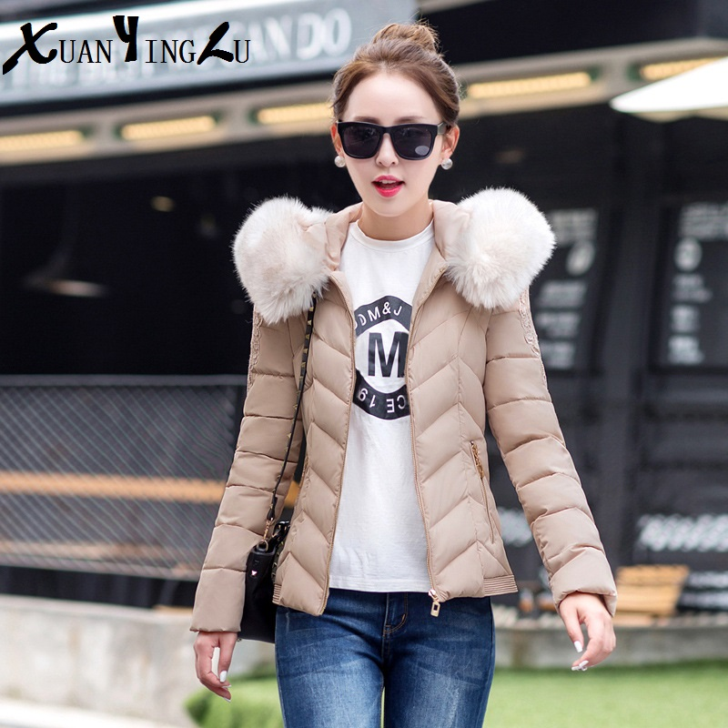 ФОТО XUANYINGLU 2016 New Winter Coats High-end fashion brand Long sleeves Fur collar Solid Lace Casual Coat Women Plus size 6 Color