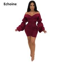 Women Puff Sleeve Mini Dress Spring Sexy Off Shoulder Slash-neck Fold Slim Bodycon Elegant Party Dress  Robe Femme Club Outfit цены онлайн